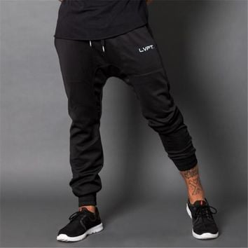 New Men gold joggers fitness Pants Casual Elastic cotton Mens Fitness Workout Pants skinny Sweatpants Trousers Jogger Pants