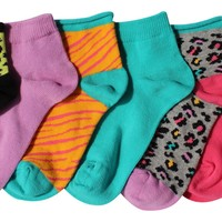 7-Pack Cute Leopard Tiger Zebra Stripes Animal Print Girls Socks