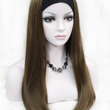 Strong Beauty Long Synthetic Straight Full Capless Wigs Half Ladies' 3/4 Wig With Headband Wig