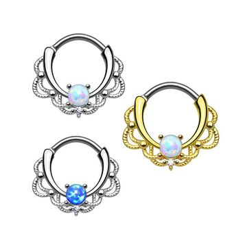 1 piece New Fashion 2017 Lacey Opal Gem Septum Ring Rook Clicker Nose Ring Titanium Shaft  Body Piercing Jewelry