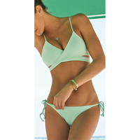 Criss Cross Bikini Set 2017 Summer Sexy Wrap Bandage Biquini Women Strappy Green Swimwear Push Up Swimming Suits Maillot De Bain