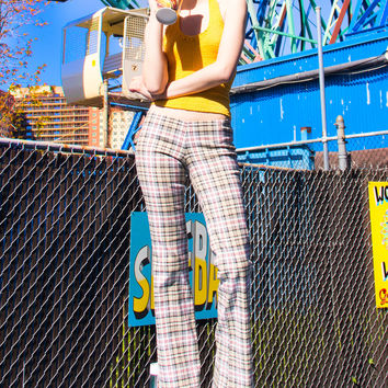 Fauxberry Plaid Beige Tartan Pants
