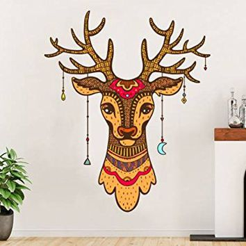 Wall Decals Deer Full Color Deer Antler Colorful Vinyl Decal Boho Style Rustic Stickers Bedroom Nursery Decor Horns Hunting Interior EN14 (18x22)