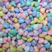 HEART BEADS PASTEL COLOR PLASTIC JEWELRY MAKING CHARMS KIDS CRAFTS 9mm 100 MIX