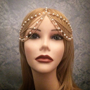 Gold 1920's Inspired Grecian Goddess Headchain 1920s head chain headdress headpiece piece 20's  headband chain pearl gypsy rhinestone