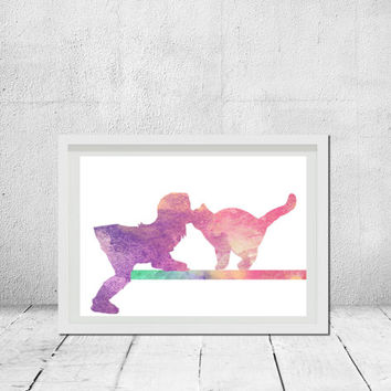 Nursery printable art Cat silhouette art Modern wall decor Kid's room decor Watercolor print Animal prints Art Gift idea Instant download