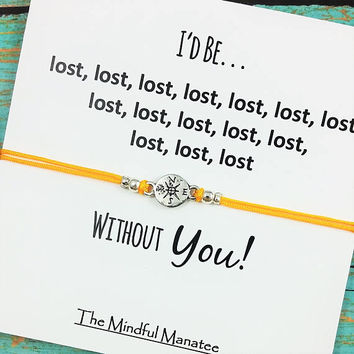 Compass Bracelet | Friendship Bracelet | Best Friend Compass Bracelet | I Would Be Lost Without You Card | BFF Compass Gift | Birthday Gift