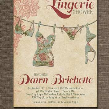 Lingerie Shower Invitation Lace Pink Green Red Shabby Chic Rustic Bridal Personal Shower Invitation DIY Digital or Printed - Dawn Style