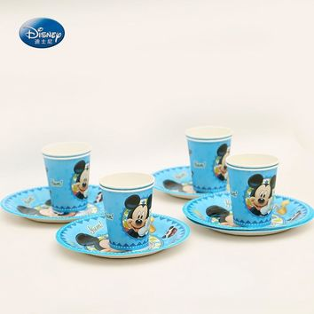 Disney Mickey mouse High-quality Disposable Tableware Set 12pcs/lot Cup+ Plate Children Birthday Party Supplies Decoration