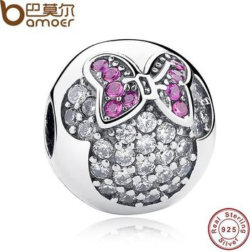 925 Sterling Silver Sweet Cute Lovely Mickey Minnie Pave Clip Charm Fit Bracelet & Necklace Jewelry Accessories PAS191