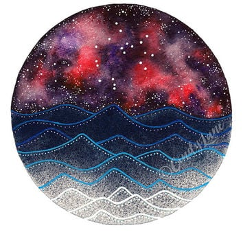 The Sagittarius Constellation above the ocean waves watercolor print, Space Art, Galaxy Painting, Stars Print, Zodiac Print, Night Sky Print