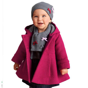 2017 New High Quality Fashion Baby Coat Girls Autumn and Winter Cotton Lining Jacquard Coat Hooded Button Outerwear 2 Color