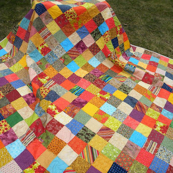 Free US Shipping--Warm Earthtone Patchwork quilt--picnic size--81X81
