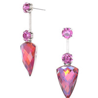Hot Pink Gemstone Crystal Statement Earrings