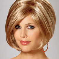 "12""?Chin Length Straight Bob Synthetic Wigs for Women Blonde"