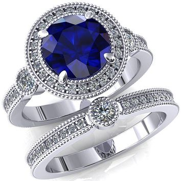 Brachium Round Lab-Created Blue Sapphire Milgrain Halo 3/4 Eternity Accent Diamond Ring