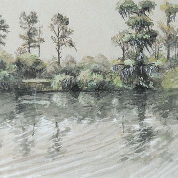 Small River & Trees Watercolor Study Painting