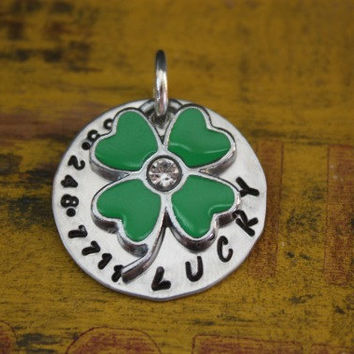 Custom Pet ID Tag Lucky Clover Dogs Cats Shamrock. Luggage Tag Keychain
