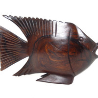 Mid Century Modern Hand Carved Fish Figurine Brazilian Ironwood Made in Brazil Wooden Sculpture Sea Ocean Tropical Fish Art Retro Home Decor