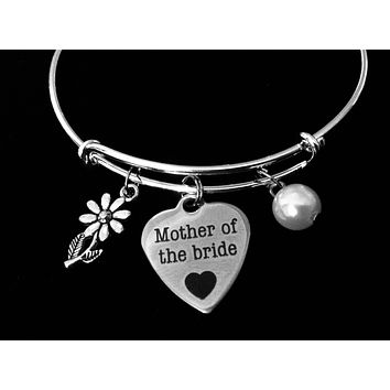 Mother of the Bride Jewelry Adjustable Bracelet Expandable Silver Charm Bangle Wedding One Size Fits All Gift
