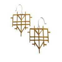 Mondrian 3 Brass Earrings