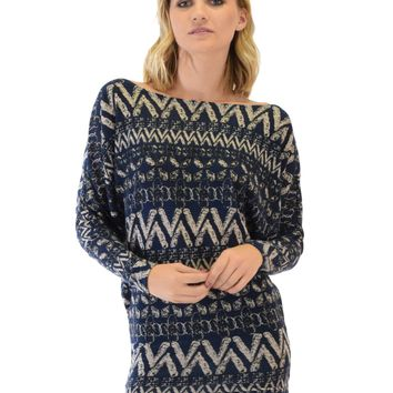 Lyss Loo Contemporary Long Sleeve Patterned Navy Dolman Tunic Sweater Top