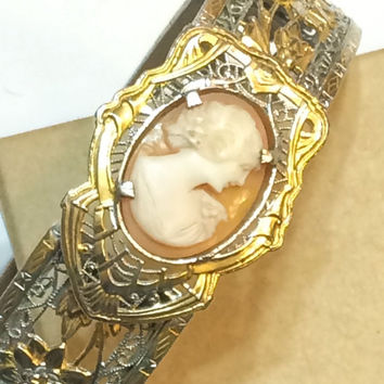 Art Deco Filigree Bangle Bracelet, Cameo, Gold, Rhodium J.J. White, 1930s, Wedding Jewelry