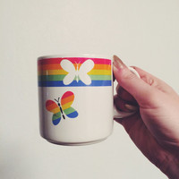 Adorable Vintage Coffee Cup • Rainbow Coffee Mug • Retro Butterfly Mug