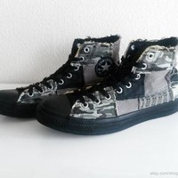 Patchwork Converse All Stars, high tops, black, grey, camouflage, tweed, houndstooth.