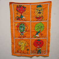 Vintage Anthropomorphic Veggies Fruits Linen Kitchen Towel 1970s