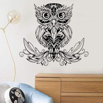 Vinyl Wall Decal Owl Bird Tribal Decor Room Decoration Stickers Unique Gift (ig3615)