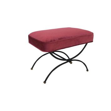 Pre-owned Mid-Century Campaign Style Pink Ottoman