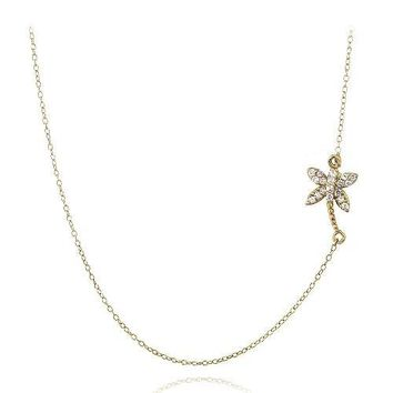 Gold Tone over Sterling Silver CZ Palm Tree Chain Necklace