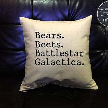 "The Office TV SHOW "" Bears Beets Battlestar Galactica, The Office Quote Pillow Cover, dwight Schrute cotton canvas pillow cover"