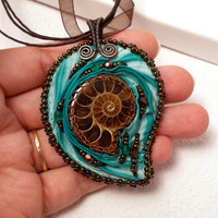 Ammonite Mint Chocolate Shibori Pendant Necklace, Copper Wire Wrapped Jewelry with Bead Embroidery and Shibory Silk