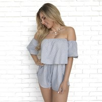 Static Shock Ruffle Off Shoulder Romper