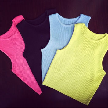 Knitting Sleeveless Short Crochet Vest Candy Color Slim Sexy Fitness Bustier Crop Top 2016 Spring Summer Women Casual Tops Tee