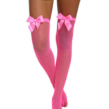 Neon Pink Fishnet Thigh Highs