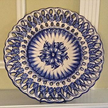 Portugal Pottery Platter / Alcobaca Portugal / Signed and numbered / Wall hanging / Vintage Ceramic