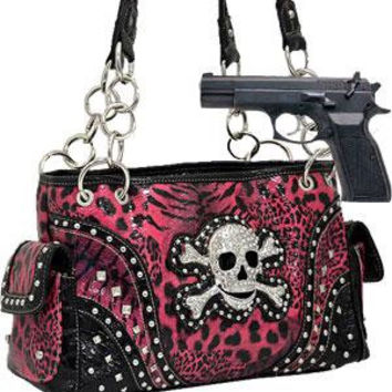Animal Print : Leopard Leather Rhinestone Skull Shoulder Bag