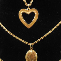 Vintage Goldette NY Triple Chain Heart Shape and Locket Necklace