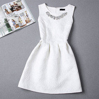 Women O-neck Sleeveless Solid Color Appliques Ball Gown Base Dresses Sundress With Jewelry