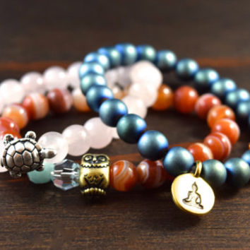 Women's Triple Stack! Beaded Bracelet Set with Blue Hematite, Rose Quartz, and Banded Carnelian. Yoga Bracelets. Lotus and Lava Bracelets.