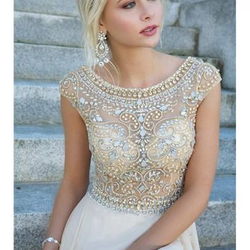 Scoop A-line/Princess Short Sleeves Beading Rhinestone Floor-length Dress - Formal Dresses