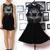 Blue Eyes Cat Sleeveless Dress from Crazy Cats