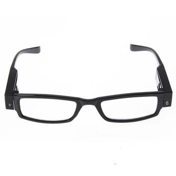 Reading Glasses LED Magnifying Lens Magnifying for Presbyopia Black, Diopter +2.5