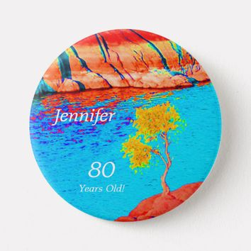 80 Years Old, Colorful Landscape Button Pin
