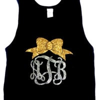 Glitter Monogram Tank Top Monogrammed Tank Top with Anchor, Bow, Dance Wear, Cheer Gymnastics Apparel Women Teens Girls