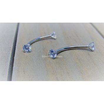 "Nipple jewelry internally threaded titanium curved barbell 14g 5mm Swarovski clear gems 5/8"" length hypoallergenic"