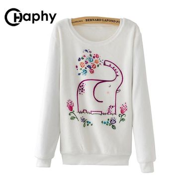 Hoodies Elephant Print Autumn Winter Women Fashion Warm Hoodie Casual Flower Flannel Hoodies Pullover Tracksuits Sweatshirt
